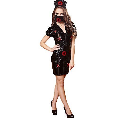 KAIDILA Sexy Anzug Schwarz Krankenschwester Cosplay Uniform Versuchung Halloween Play (Plus Size Krankenschwester Halloween Kostüme)