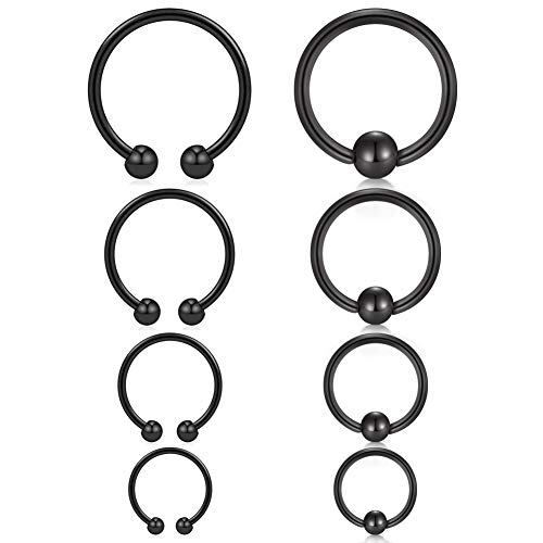 VFUN 14G Helix Tragus Cartilage Ear Hoops Piercing Stainless Steel Piercing Nose Lip Eyebrow Nipple Navel Ring Woman Man 6-12MM 8 Pieces