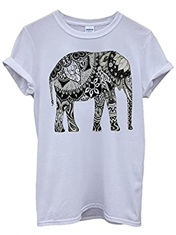 Elephant Drawing Ethnic Pattern Art Funny Hipster Swag White Men Women Unisex Top T-Shirt -Large