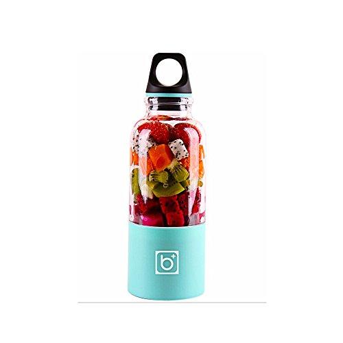 Jencus 500 ml Tragbare Entsafter Tasse USB Wiederaufladbare Elektrische Automatische Obst Gemüse Werkzeuge Maker Tasse Mixer Mixer Flasche Saft Maker Zitruspressen (Color : Blue)