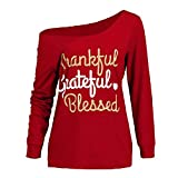 TWIFER Damen Casual Langarmshirt Elegent Thanksgiving Brief drucken Schiefen Hals Bluse Pullover