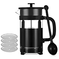 French Press Coffee Maker, PAVLIT 34 OZ Cafetiere Stainless Steel and Glass Double Walled Construction, 8 Cups 1.0 L Coffee Plunger with a Measuring Spoon and 4 pieces Additional Replacement Filter Screen