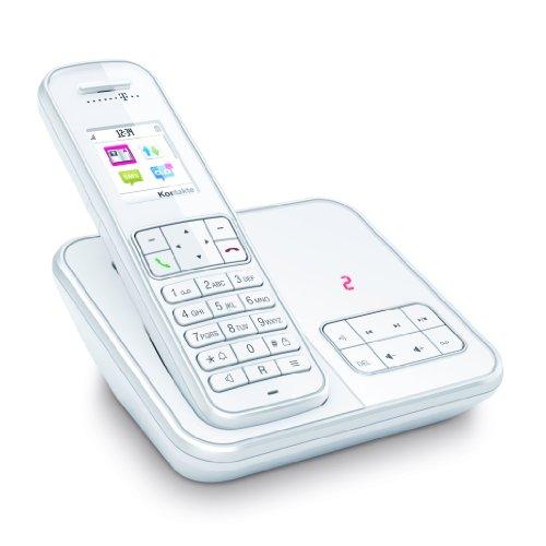 Telekom Sinus A 406 Schnurlostelefon mit Anrufbeantworter und Grafikdisplay (Sonderfarbe: weiß, 200 Telefonbucheinträge, 40 Min Speicherdauer AB, Farb-Grafikdisplay)