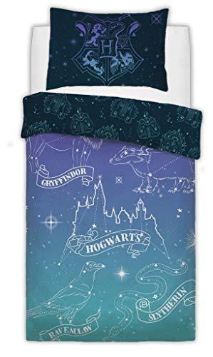 QM-Bedding® Wende-Bettwäsche-Set für Kinder, Motiv Warner braun, Harry Potter Celestial Magic, Einzelbett