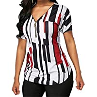 GRMO Women Summer V Neck Printing Short Sleeve Zip Front Blouse Top T-Shirt Wine Red 5XL