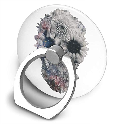 (Egesgegts Phone Holder Flowers Skull 360¡ã Rotation Ring Holder Finger Grip for All iPhones Mobile Smartphones and IPads)