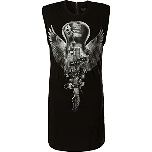 Religion Damen Kleid Phenomenom Dress 88EPHD17 Guitar Wings Graphic Shwarz, XS