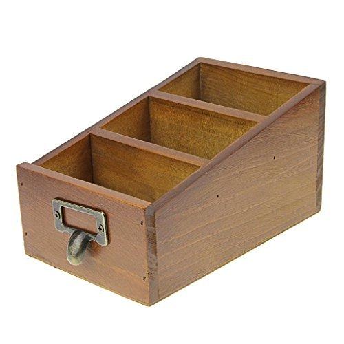 Porte De Karte Besuch in Holz Aufbewahrungsbox mit 3Fächer Box Retro zu Postkarte Ringbuch Fernbedienung Organizer für Uhren Reisepass Brille Sonnenbrille