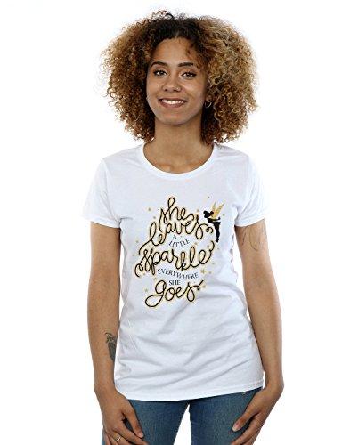 Disney Damen Tinkerbell Stars T-Shirt Small Weiß (Tinkerbell T-shirt Tee)