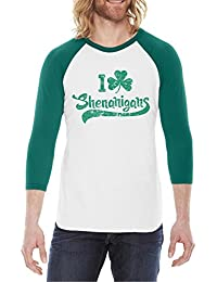 Crazy Dog Tshirts Clover Shenanigans Raglan Saint Patricks Day Ringer Irish Shirt