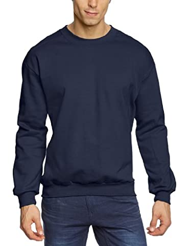 Anvil Men's Adult Crewneck Plain Long Sleeve Sweatshirt, Blue (Navy),