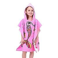 APERIL Kids Poncho Towel for Bath Beach Swimming Hooded Towel, Kids Soft Cartoon Bathrobe Fast Drying Towel