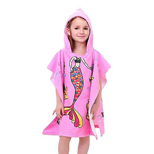 VSTON Kids Poncho Toalla para baño, playa, toalla, con capucha, toalla, niños, suave, dibujos animados, albornoz, secado rápido, toalla, para, niñas, (Pink, sirena)