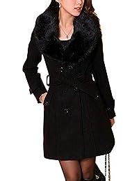 dc4d03017e233 Femme Caban femme laine Double breasted Chaud Manches Longues Manteau d  hiver Mélange de laine