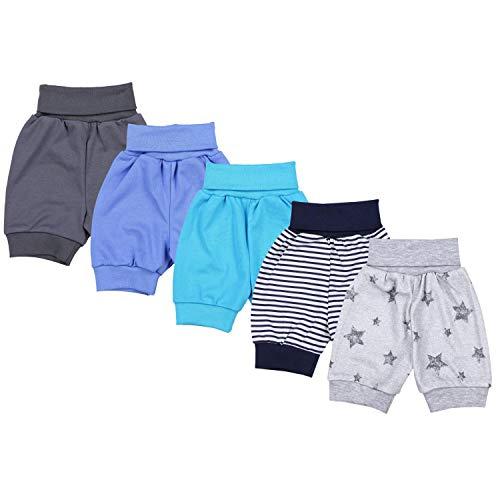 TupTam Unisex Baby Pumphose Sommershorts Baumwolle 5er Pack, Farbe: Junge 3, Größe: 62/68