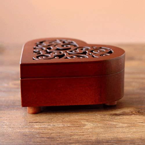 DYU Herzförmige Vintage Holz Geschnitzte Mechanismus Musikbox Wind Up Spieluhr Geschenk für Weihnachten/Geburtstag/Valentinstag, Melody Castle in den Himmel (Farbe : Bronze Movement, größe : Canon)