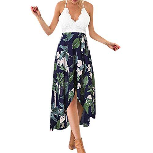 Wawer_Damen Kleid  Frauen Sleeveless Solide Sling Lace Unregelmäßige Gabel Openin Print Floral Langes Kleid, Strandkleid Abendkleid Knielang Faltenrock