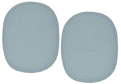 alles-meine.de GmbH 2 Stk. Nappa - echtes Leder Flicken - grau - 10 cm * 13 cm - oval - Aufnäher...