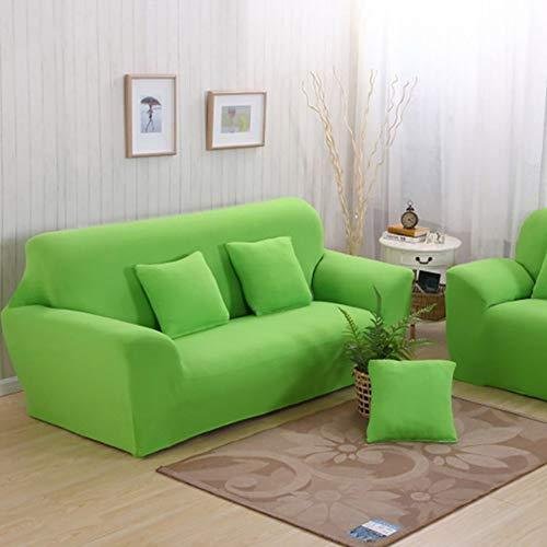 Grünes Stoff Sofa Couch (D&LE Volltonfarbe Sofa Überwurf, Stretch Aus Stoff Sofa Abdeckung 1 2 3 4 Sitzer Couch Sofabezug Sessel Anti-rutsch Möbel Protector-grün 2 Sitzer 145-185cm)
