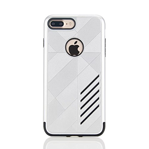 "MOONCASE iPhone 7 Plus Coque, Combo Housse Hybride TPU +PC Etui Antichoc Anti Dérapant Robuste Protection Dual Layer d'Armure Lourde Case pour iPhone 7 Plus 5.5"" Noir Argent"