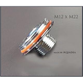 Übergang M12Aussengwinde auf M22 Aussengewinde, oft bei 3-Wege-Armaturen mit 2 Perlstrahlern, einer für gefiltertes- oder Osmose-Wasser- zur Anbringung eines Wirblers , Aquadea Kristall-Wirbler nach Schauberger