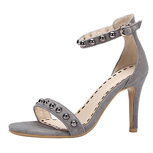 AIYOUMEI Damen Offene Knöchelriemchen Sandalen mit Nieten Stiletto High Heels Pumps Schuhe Grau
