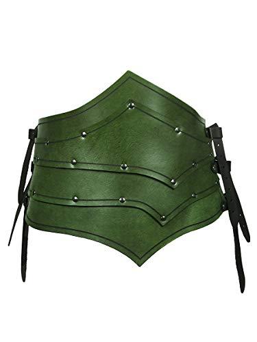 Andracor - Asymmetrischer Rüstgürtel aus echtem Leder für Assasinen, Schurken und Elfen - LARP, Cosplay und Fantasy - Grün