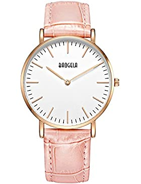 Damen Uhren Leder Rosa Gold Frauen Armbanduhr Analog Quarz Zeitloses Design Wasserdicht Weiß - BAOGELA