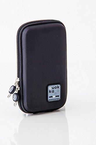 Quokka Smartphonetasche schwarz - Tasche für Rollstuhl, Rollator, Scooter, Fahrrad, Elektro-Rollstuhl, Wetterfest, Stoßfest mit Magnetverschluss und kontrastreicher Innenauskleidung