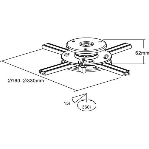 InLine 23138A Deckenhalterung für Beamer (max. 20kg) - 2