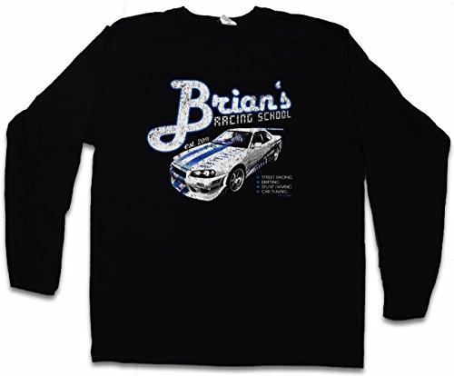 Brian`S Racing School Long Sleeve T-Shirt – Paul 2013 Street Racing Walker Nissan Drifting Skyline Sizes S – 2XL