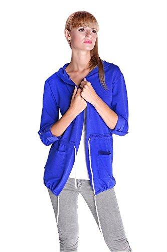 Cardigan Sweater Jacke mit Kapuze Gr. S M L, 1898 Blau