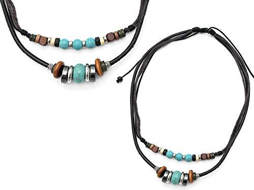Agathe creation C0418 Halskette, tibetisches Design, Glücksbringer, Handgefertigt