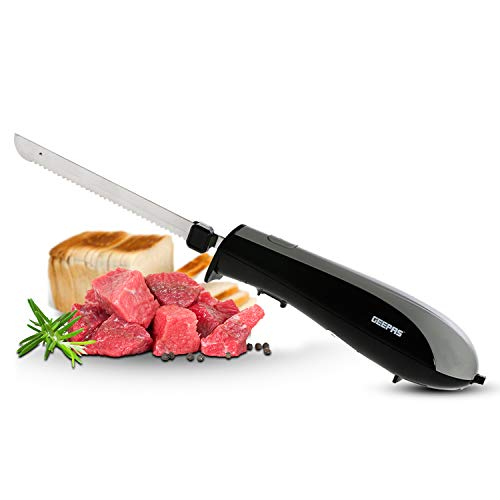 41yQ6UO6MAL. SS500  - Geepas 150W Electric Knife - Serrated Carving Knife - Can Cut Turkey, Meat, Bread, Vegetables, Fruits, Ham, and Cooked Beef - Single Start Button & Eject Button - 2 Year Warranty