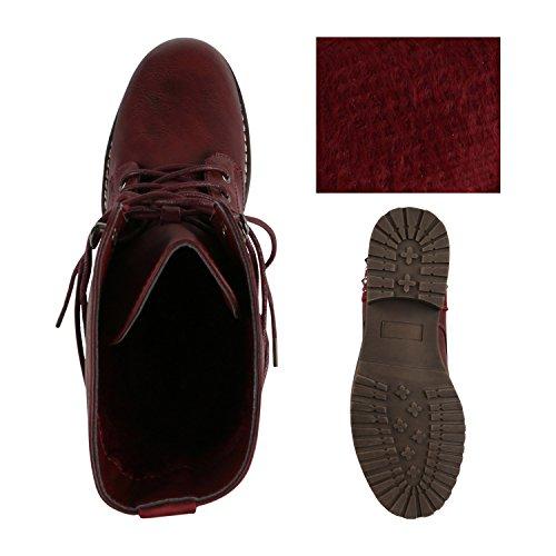 9296f5dc813f61 ... Stiefelparadies Damen Stiefeletten Worker Boots Spitze Stiefel Schuhe  Flandell Dunkelrot