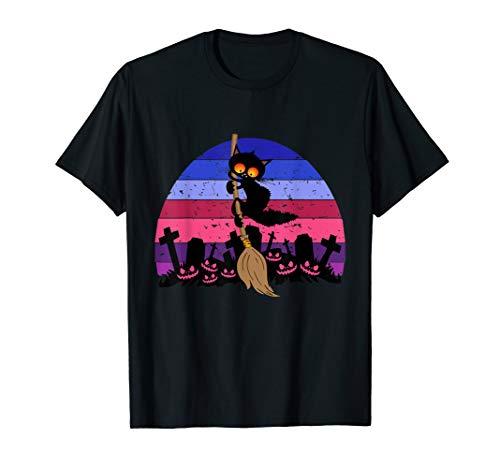 Halloween Kostüm Halloween Katze Reiten Hexenbesen T-Shirt (Reiten Damen Kostüm)