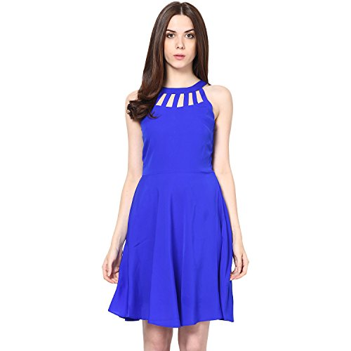 Harpa Women's Skater Dress (GR2149-Blue_Medium)  available at amazon for Rs.520