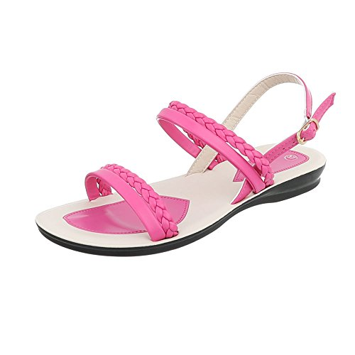 Riemchensandalen Damen-Schuhe Riemchensandalen Riemchen Schnalle Ital-Design Sandalen & Sandaletten Pink, Gr 37, Gs1015-
