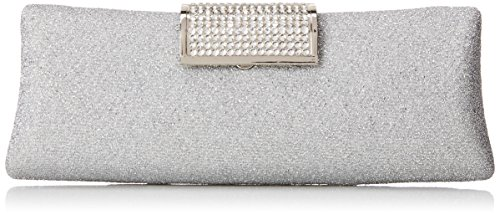 MG Collection Anabel Shimmering Rhinestone Clasp Hard Case Baguette Evening Bag, Silver, One Size