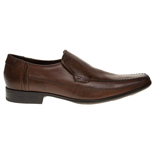 Base London Ange Mens Leather Slip On Shoes - Brown Marrone