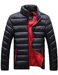 Yonglan Hombres Color Mezclado Acolchada de Outwear Abrigo Anorak Invierno Chaqueta Abajo Abrigo…
