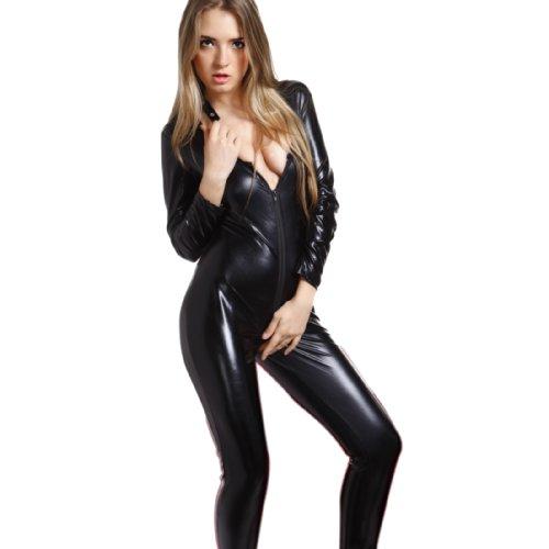 Sexy Overall Lack Anzug WetLook Catsuit Bodys Dessous Nachtkleid Party Clubwear Catlady Kostuem (S, Schwarz)