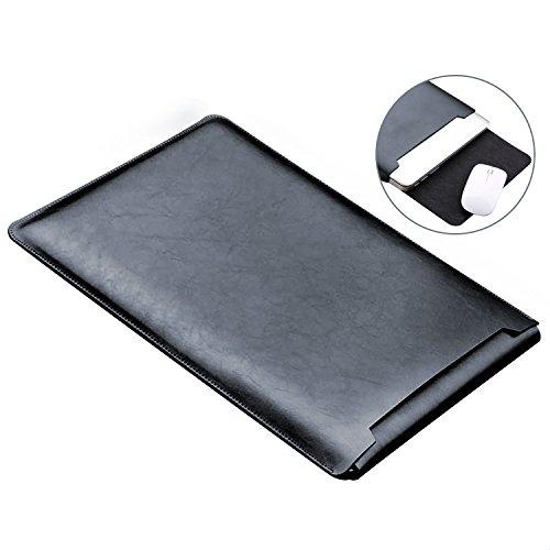 Preisvergleich Produktbild MacBook Air 13 Zoll Laptop Hülle, ZXK CO Luxus Mikrofaser Leder Laptop Tasche Wasserresistente Laptop Hülsen Beutel Abdeckung für MacBook Air &Macbook Pro 13.3 Zoll Ultra Dünn Case Cover mit Mauspad-Schwarz