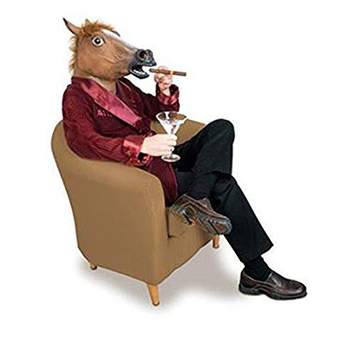 UJUNAOR Pferdekopf Maske Latex Tierkostüm Prop Gangnam Stil für Halloween Cosplay Party(Braun,One Size)