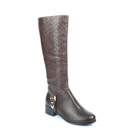 Ideal Shoes - Bottes bi-matière avec partie style reptile Leanna Marron