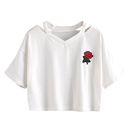 Damen Sweatshirt T-Shirt,Dasongff Mode T-Shirt Rose Blumen Gedruckt Shirt Bluse Damen Sweatshirt V-Ausschnitt Weste Oberseiten Bluse (S, Weiß) (Blumen-shirt)