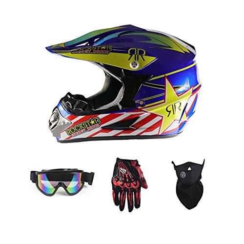 LEENY Motocross Helm Herren Crosshelm mit Brille Handschuhe Maske Vier Jahreszeiten Unisex, Motorradhelm DH Enduro Quads Motorrad Offroad-Helm für Erwachsene Männer Frauen,Blue,XL Blue Fox Bluetooth