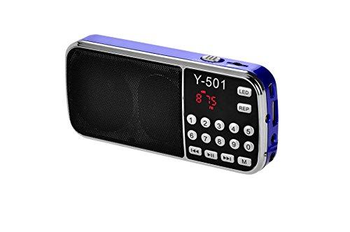 eJiasu tragbare Mini Digital USB FM Radio Unterstützungs-MP3-Musik-Spieler TF-Karte / USB Disk-Port / LED-Screen-Display / Taschenlampe / Akku- / Kopfhörer-Ausgang / Lanyard für PC iPod iPhone und andere Android-Handys(Blau)