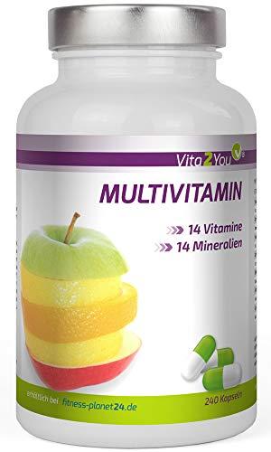 Multivitamin 240 Kapseln - 28 Vitamine & Mineralien - Vitamin von A-Z - Hochdosiert - Premium Qualität - Made in Germany