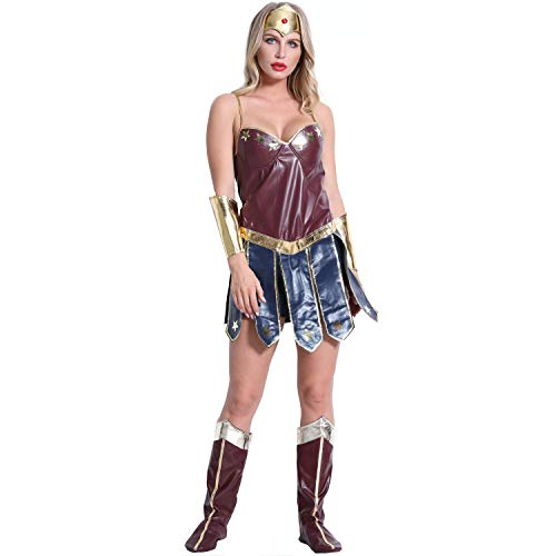 Antybaby Women's Wonder Woman Costume Lady Sexy 6 Piece Costume Set with Headpiece, Boot, Tops (Boot Überschuhe Kostüm)
